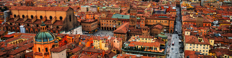 Aerial view of Bologna, Italy at sunset