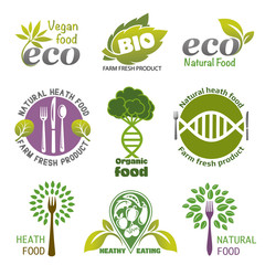 organic food. Set of vector icons and elements for organic food. Vegetarian food icons. Label and logo healthy eating.