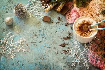 Christmas frame. Coffee with whipped cream, cappuccino cup and c