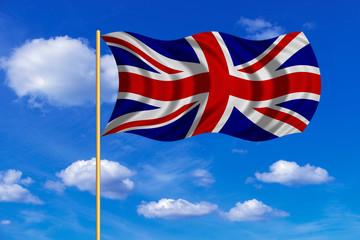 Flag of United Kingdom wavy on blue sky background