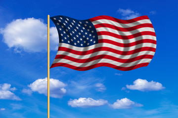Flag of USA waving on blue sky background