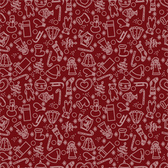 Christmas seamless pattern on red background.