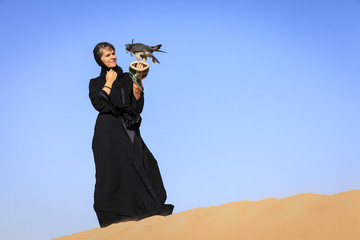 Woman with Peregrine Falcon