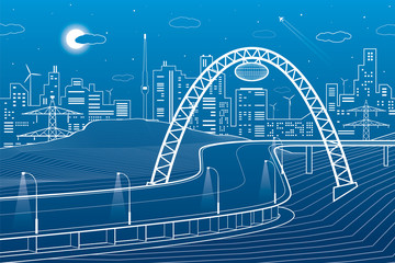 Highway under the bridge, neon city, night town, infrastructure illustration, white lines on blue background, vector design art