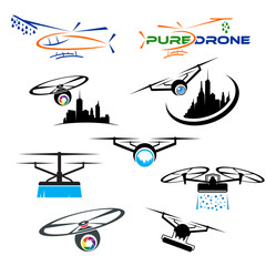 set of vector logo drone technology