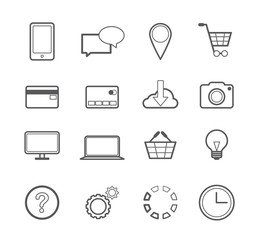 Simple Set of Web Shopping Vector Line Icons. Online Shop Outline Style Icon. Pictogrammes of Phone, Dialog, Location, Basket, Credit Card, Photo, Help, Service and More.