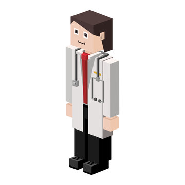 lego silhouette with male medical vector illustration