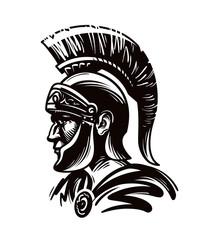 Spartan warrior, gladiator or roman soldier. Vector illustration
