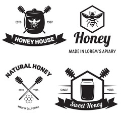 Set of vintage honey labels badges logotypes and design elements. Apiary logo template