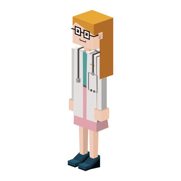 lego silhouette with female medical vector illustration