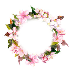 Floral round wreath - pink flowers, apple, cherry blossom for postcard. Aquarelle