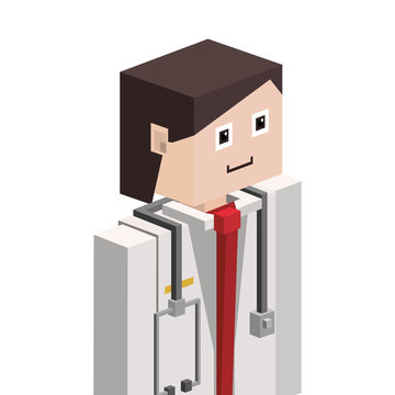 lego silhouette with male medical half body vector illustration