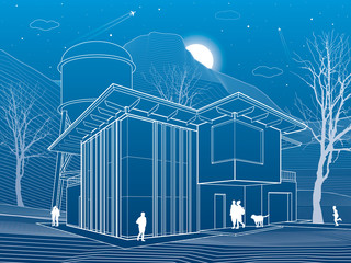 Modern house. People walking. Water tower. Mountains on background. Architecture and nature illustration, night scene, neon city, white lines, vector design art