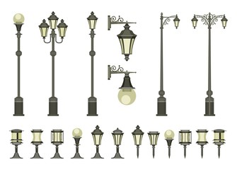 set of street lamps