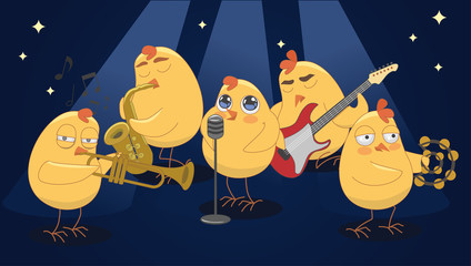 Young chickens play musical instruments on a blue background. ve