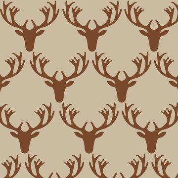 Deer head pattern on beige background