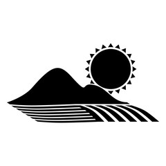 silhouette monochrome seeding with mountain and sun vector illustration