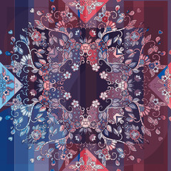 Decorative floral ornament. Can be used for cards, bandana prints, kerchief design, tablecloths and napkins.