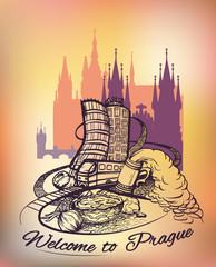 Welcome to Prague poster, banner, sticker with Czech capital landmarks. Line drawing on watercolor background.Vector illustration