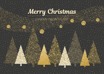 Vector merry Christmas and happy New Year design. Horizontal card with geometric and dotted Christmas trees in black, gold and white colors.