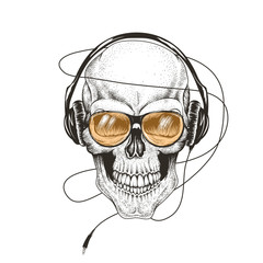 skull listening a music in headphones