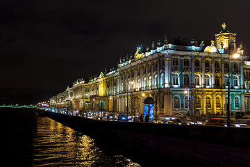 Saint Petersburg Hermitage Palace by night