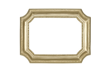 Gold frame isolated on white with clipping path.