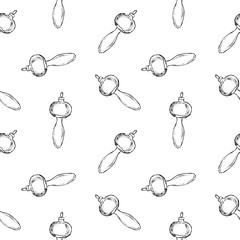 Seamless pattern of vintage hand drawn balls and mushroom toys. Christmas and New Year design elements