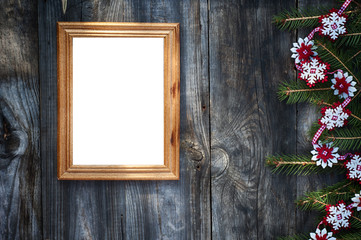 Empty wooden frame on the gray wooden surface