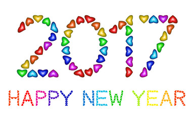 New Year 2017 made from multicolored hearts isolated on white background. Numbers of year 2017. Rainbow greeting card. Happy holidays colorful design for banners, posters, flyers, calendar. Vector