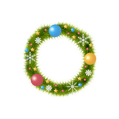 Christmas wreath with decoration over white background