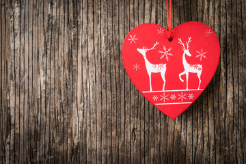 Vintage red heart as Christmas background