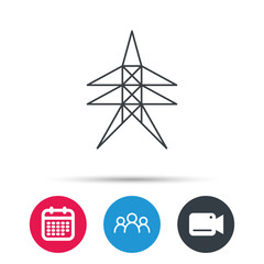 Electricity station icon. Power tower sign. Group of people, video cam and calendar icons. Vector