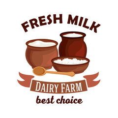Fresh milk vector isolated icon
