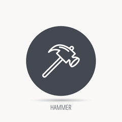 Hammer icon. Repair or fix sign. Construction equipment tool symbol. Round web button with flat icon. Vector