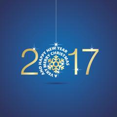 Happy New Year 2017 Christmas ball snowflake blue vector