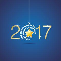 Happy New Year 2017 Christmas ball star blue vector