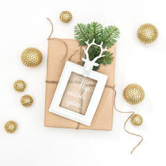 Christmas composition gift picture frame golden decoration