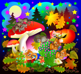 Illustration of wonderland night landscape with sleeping animals. Vector cartoon image.