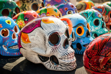 Colorful painted skulls at el dia de los muertos