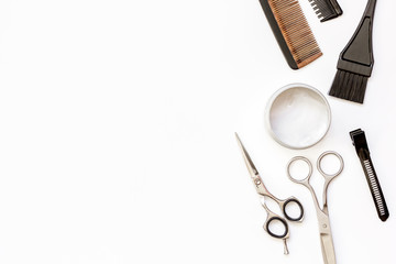 hairdresser tools on white background top view