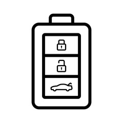 Car, automobile, vehicle keyless smart key with buttons line art icon for apps and websites