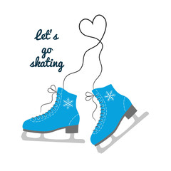 """The skates icon with text """"Let's go skating""""."""