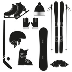 Winter sports icons on white background.