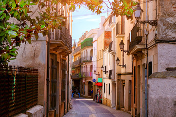 Beautiful view of scenic narrow alley street with historic traditional houses in an old town in...