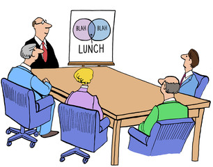 Business illustration of a meeting with a Venn diagram, 'blah', 'blah', 'lunch'.