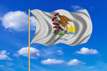 Flag of Illinois waving on blue sky background