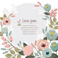 Vector illustration of a beautiful floral border with spring flowers. White background