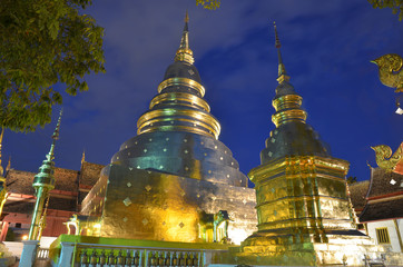 A night scene of Thai style chedi in Wat Phra Singh,Chiang mai,Thailand