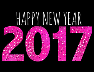 Glamorous typography, pink vector, New year, card, illustration.